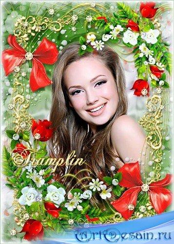 Цветочная рамка для ваших фото – Расплескалось море красных роз