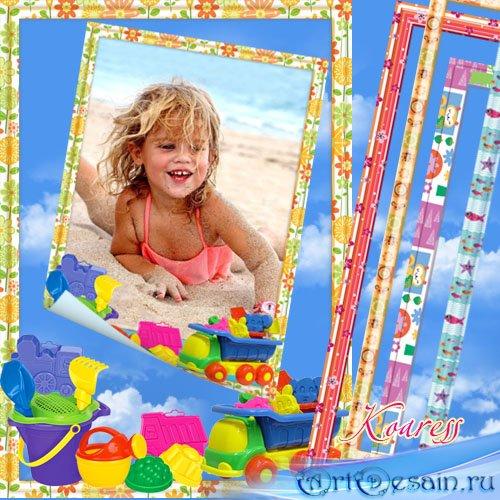 Детская рамка для фото - А на пляже мы построим целый замок из песка