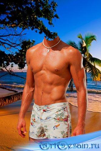 Шаблон для фотошопа – Мужчина на берегу океана