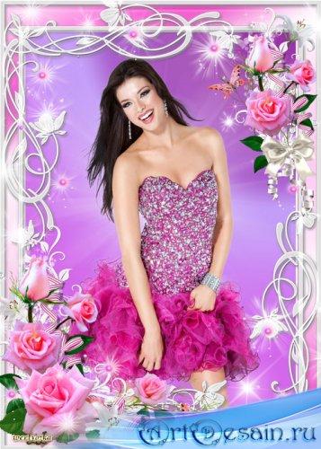 Рамка для фотошопа - Нежные розы и лилии