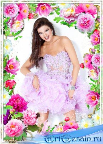 Рамка для фотошопа - Прекрасные цветы пионы
