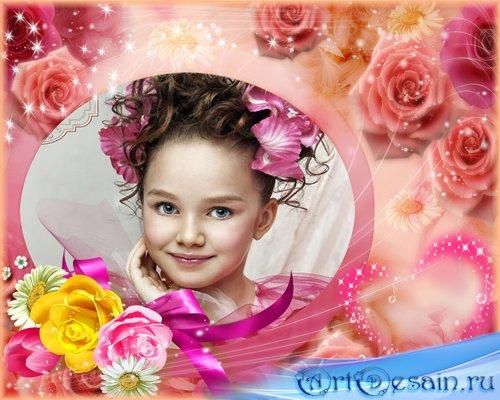 Очень красивая рамочка для фотошопа с розами и ромашками для настоящей цвет ...