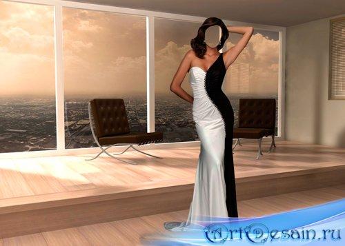 Шаблон для фотошопа – Женщина в черно – белом платье