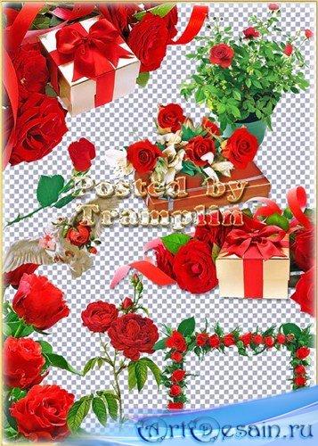 Клипарт на прозрачном фоне – Красные розы,  подарки и банты