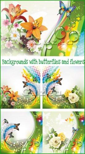 Векторный набор фонов с цветами и бабочками/ Backgrounds with butterflies a ...