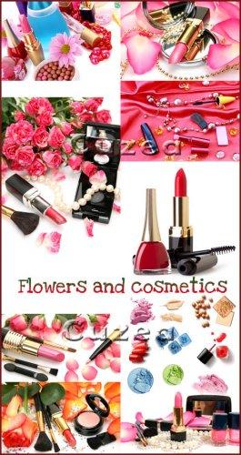 Цветы и косметика- растровый клипарт