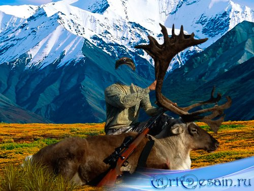 Шаблон для фотошопа – Охотник возле оленя в горах