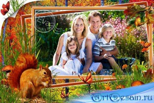Рамка для photoshop - В лес всей семьей