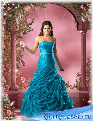 Женский шаблон для фотошопа - В платье цвета морской волны