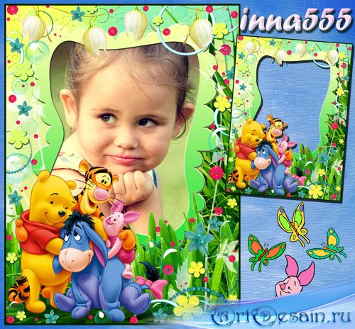Рамка для детских фото с героями мультфильма – Винни Пух и все-все-все