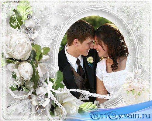 Красивая свадебная рамочка для фотошопа на романтическом фоне с красивыми ц ...