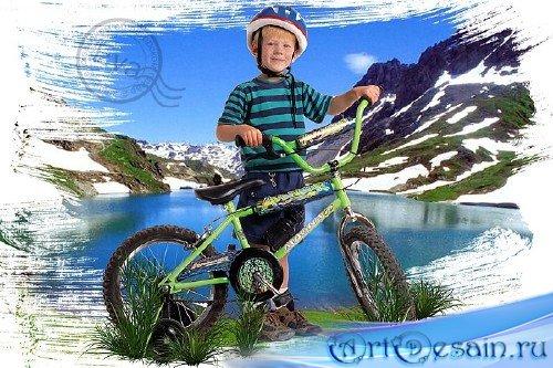 Детский шаблон для фото - Мальчик с велосипедом