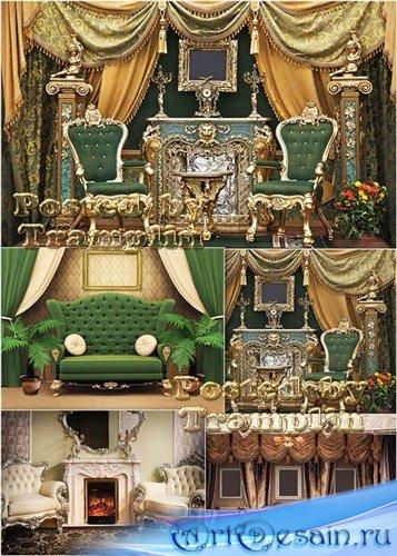 Шикарный интерьер – Кресла, диваны, картины, цветы, камин