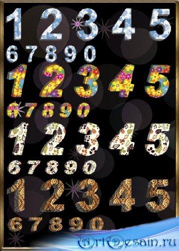 Клипарт объемные цифры - цветы, листья, узоры