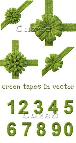 Зелёные декоративные ленты- растровый клипарт