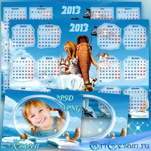 Детский набор из рамки для фото и календаря на 2013 год с героями мультфиль ...