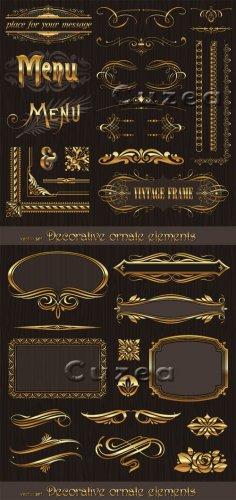 Декоративные золотые элементы для дизайна в векторе