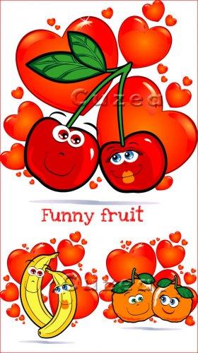 Весёлые фрукты в векторе
