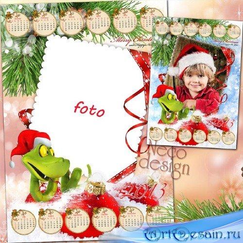 Красочный новогодний календарь - рамка с весёлой змеёй в шапке санты на 201 ...