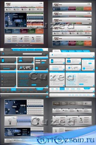 Кнопки и иконки для вэб сайта в векторном сете