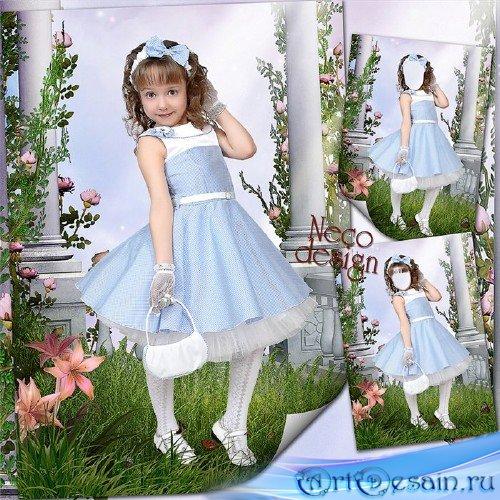 Шаблон детский для девочки - Маленькая модница в саду