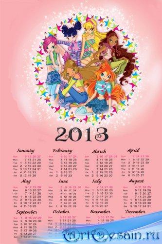 Календарь на 2013 год -  феи Винкс