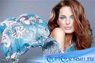 Шаблон для Фотошопа - Девушка в голубом