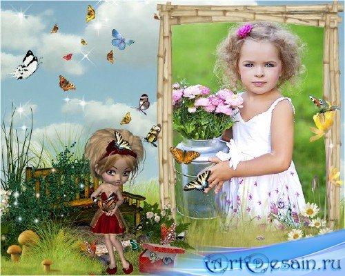 Красочная детская рамочка для фотошопа - Девочка с бабочками