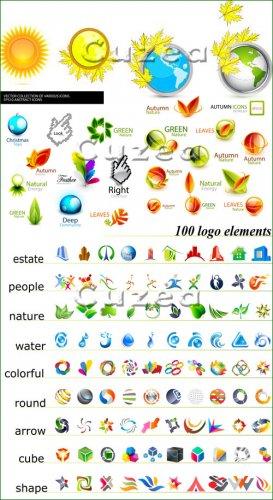 Коллекция осенних иконок для вашего дизайна - векторный клипарт