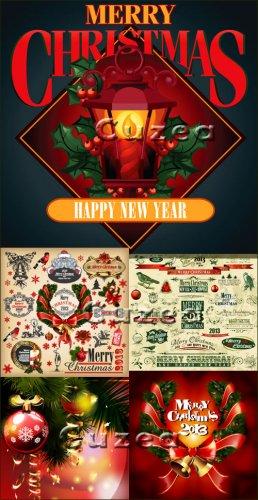 Счастливого рождества 2013 - векторные фоны, надписи и элементы, часть 2