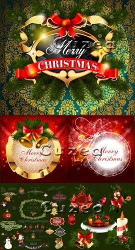 Счастливого рождества 2013 - векторные фоны, надписи и элементы