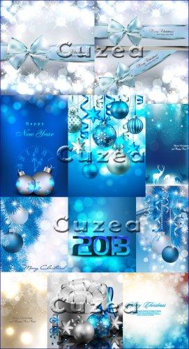 Мега коллекция векторных фонов к новому году в синем цвете