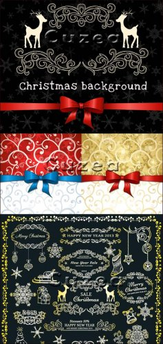 Фоны и надписи 2013 к рождеству в векторе