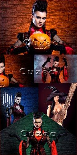 Девушки на празднике Хэллоуин - растровый клипарт
