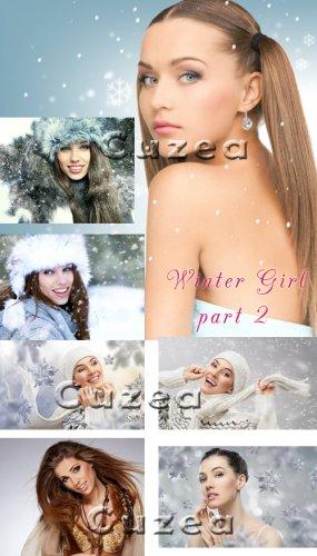 Подборка зимних девушек, часть 2 - растровый клипарт