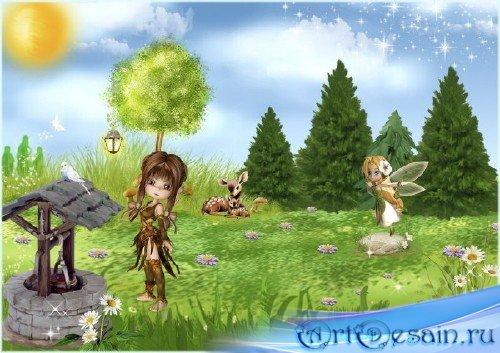 Красивый многослойный сказочный фон - На опушке леса