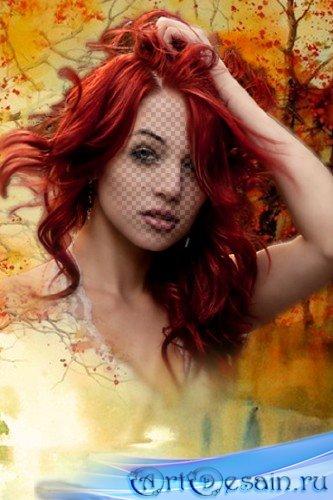 Женский шаблон для фотомонтажа - Леди Осень