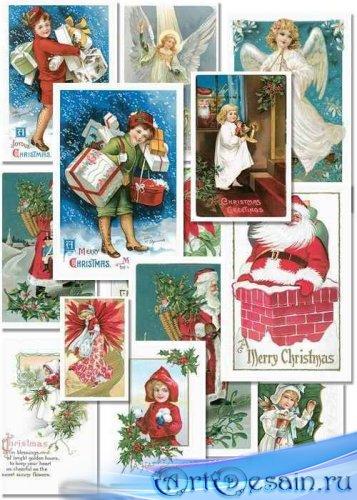 Набор Винтажных Новогодних Карточек
