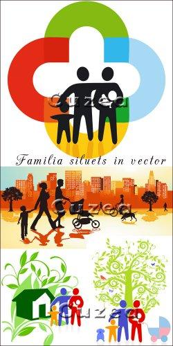Силуэты семьи в векторе