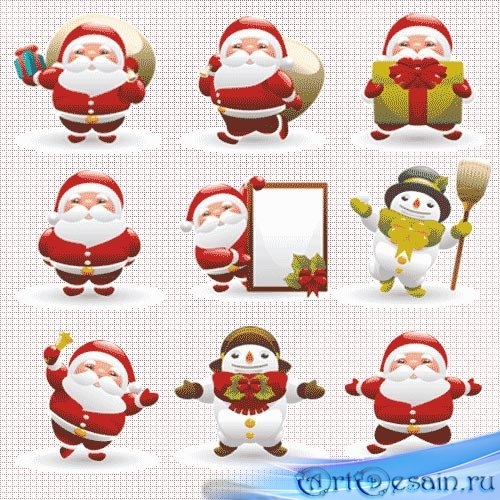 Клип арт новогодний - Санта (Santa)