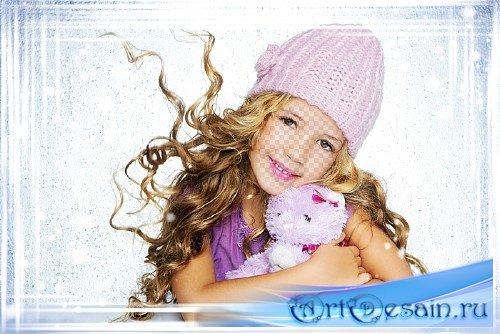 Детский шаблон для фотошопа - Пушистый снежок