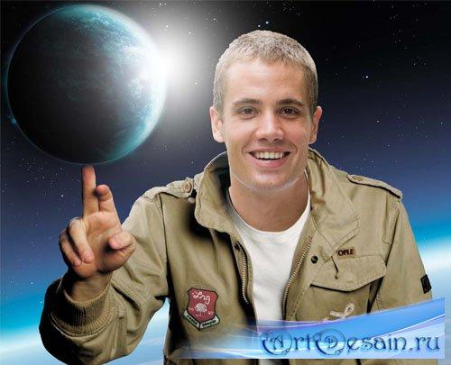 Мужской фотошаблон - Земной шар на Вашем пальце
