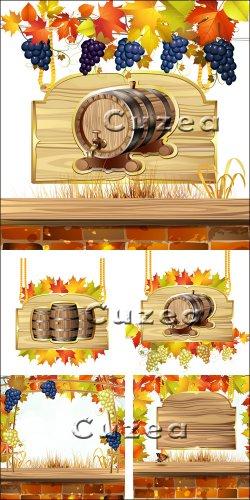 Деревянные фоны с виноградной лозой и бочкой в векторе