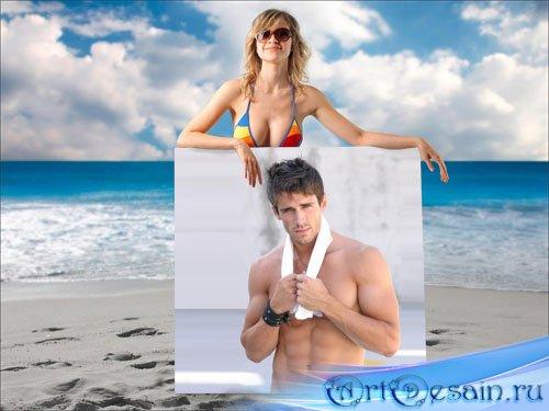 Рамка для фото - девушка на пляже