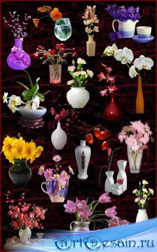Клипарт - Цветы в вазах