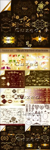 Vintage calligraphical and gold elements for design - Vector Stock photo