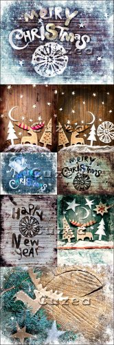 Vintage Christmas backgrounds with a deer in blue and brown tone - Stock ph ...