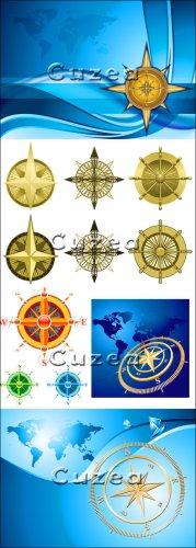 Collection of various compasses in a vector, part 1- Vector Stock