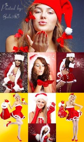 Красивый клипарт Санта девушки