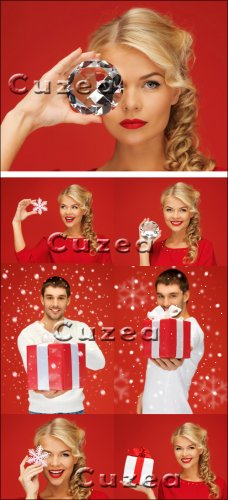 The girl with a jewel and the guy with a gift on a red background - Stock p ...